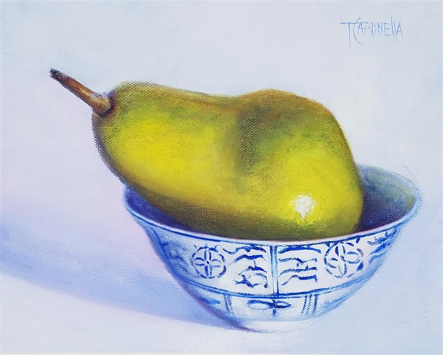 Original art for sale at UGallery.com | Pear Bowl, #1 by TAMI CARDNELLA | $500 |  | 8' h x 10' w | ..\art\oil-painting-Pear-Bowl-1