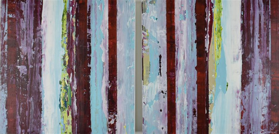 Original art for sale at UGallery.com | Aqua 20 by Lisa Carney | $800 | acrylic painting | 12' h x 24' w | ..\art\acrylic-painting-Aqua-20