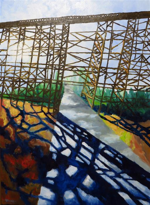 Original art for sale at UGallery.com | Tall Trestle by MITCHELL FREIFELD | $1,000 |  | 34' h x 25' w | ..\art\oil-painting-Tall-Trestle