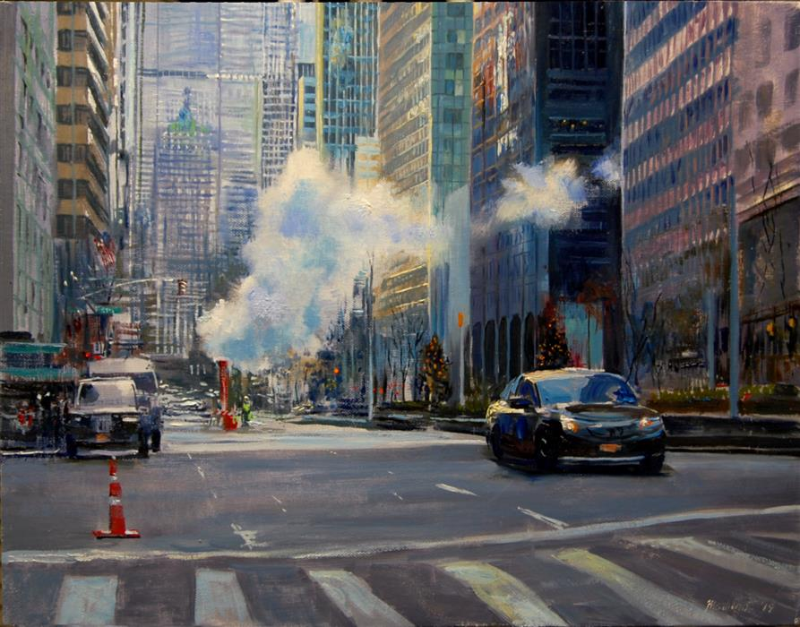 Original art for sale at UGallery.com | Steam on Park Avenue by Onelio Marrero | $900 | oil painting | 14' h x 18' w | ..\art\oil-painting-Steam-on-Park-Avenue