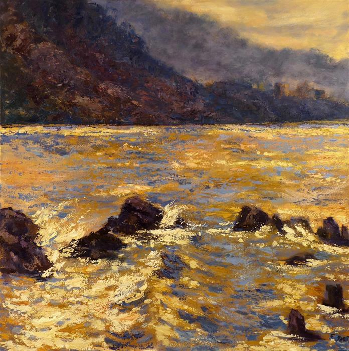 Original art for sale at UGallery.com | Sunrise at Malibu by Elizabeth Garat | $1,350 | oil painting | 24' h x 24' w | ..\art\oil-painting-Sunrise-at-Malibu