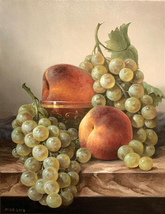 Original art for sale at UGallery.com | Peaches by Nikolay Rizhankov | $725 | oil painting | 14' h x 11' w | ..\art\oil-painting-Peaches-63112