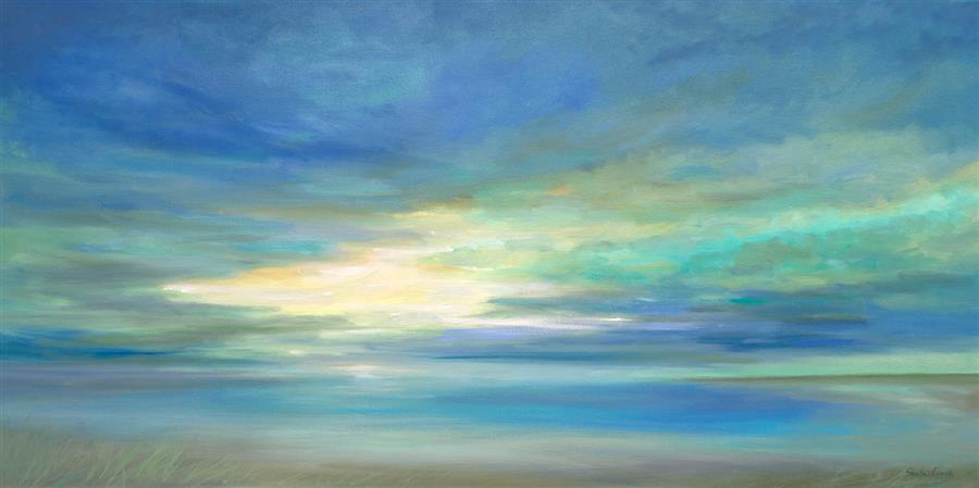 Original art for sale at UGallery.com | Tropical Sky by SHEILA FINCH | $4,600 |  | 24' h x 48' w | ..\art\oil-painting-Tropical-Sky