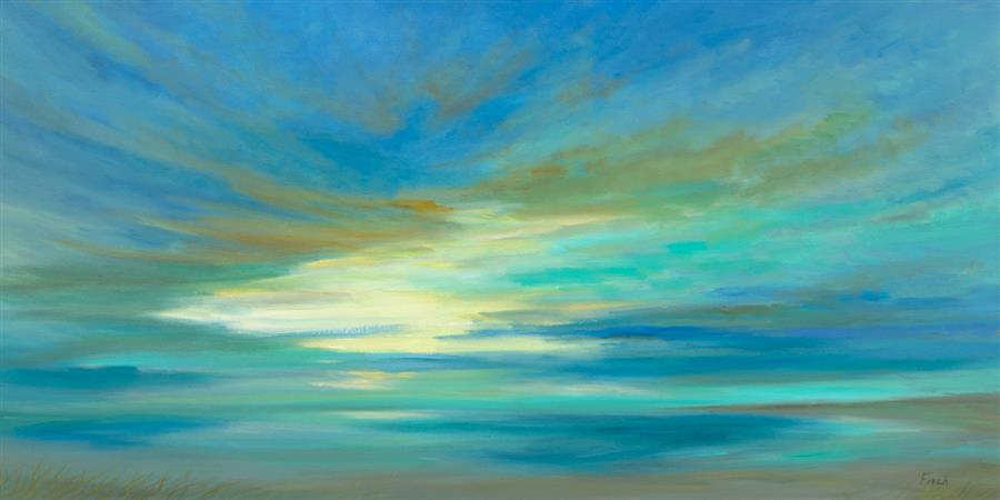 Original art for sale at UGallery.com | Tropical Sky by Sheila Finch | $3,300 | oil painting | 24' h x 48' w | ..\art\oil-painting-Tropical-Sky