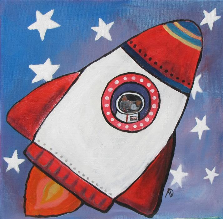 Original art for sale at UGallery.com | Astro Dog 2 by ANDREA DOSS | $375 |  | 12' h x 12' w | ..\art\acrylic-painting-Astro-Dog-2