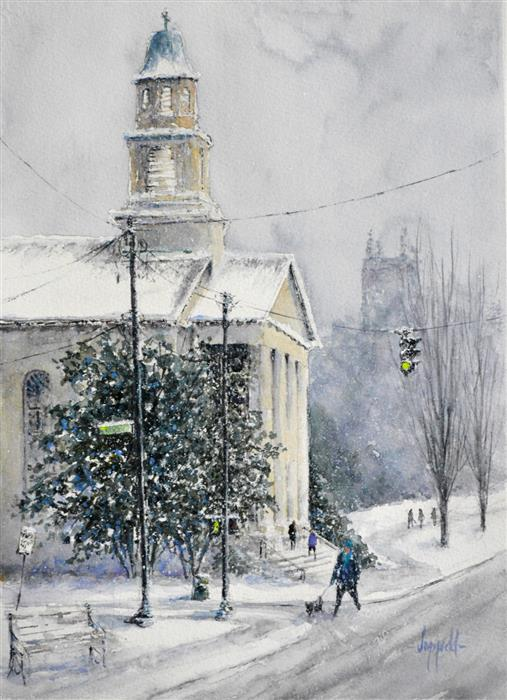 Original art for sale at UGallery.com | Winter in the City by JUDY MUDD | $775 |  | 15' h x 11' w | ..\art\watercolor-painting-Winter-in-the-City