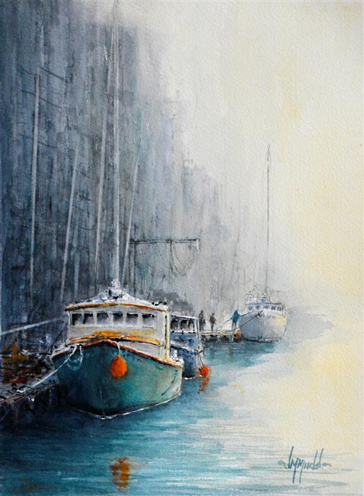 Original art for sale at UGallery.com | Fog Advisory by JUDY MUDD | $675 |  | 14' h x 10.25' w | ..\art\watercolor-painting-Fog-Advisory