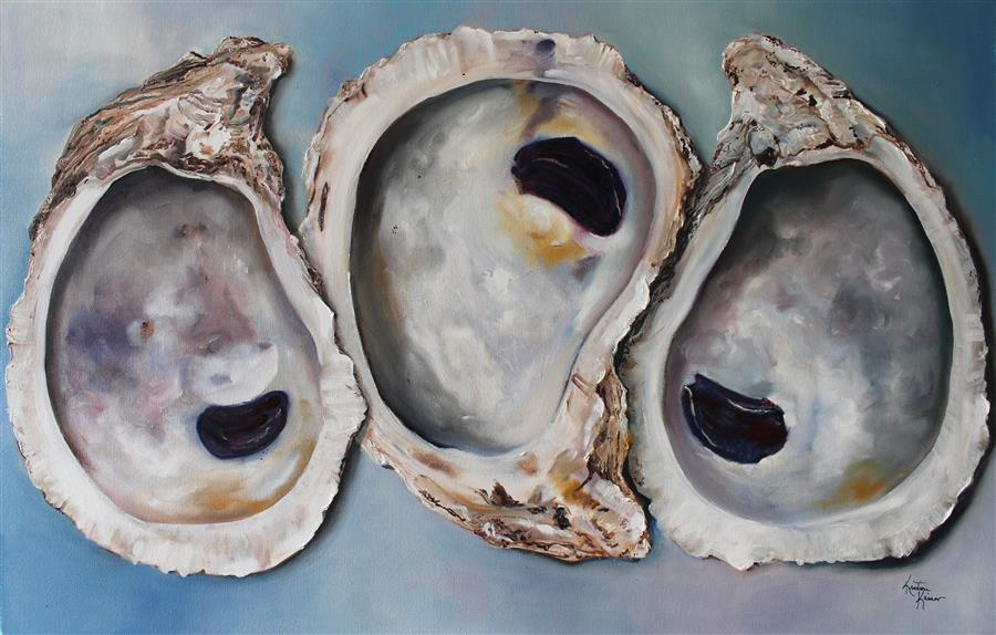 Original art for sale at UGallery.com | Chesapeake Oysters by Kristine Kainer | $3,200 | oil painting | 24' h x 36' w | ..\art\oil-painting-Chesapeake-Oysters