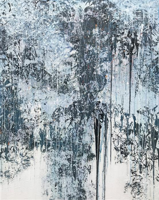 Original art for sale at UGallery.com | Winter Snowfall by MARION WOOD | $3,825 |  | 60' h x 48' w | ..\art\acrylic-painting-Winter-Snowfall