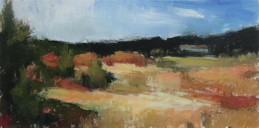 Original art for sale at UGallery.com | Field along Rt. 80, Ohio by Janet Dyer | $675 | acrylic painting | 12' h x 24' w | ..\art\acrylic-painting-Field-along-Rt-80-Ohio