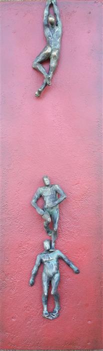 Original art for sale at UGallery.com | U-Climbers on Red III by Yelitza Diaz | $925 | mixed media artwork | 30' h x 9' w | ..\art\sculpture-U-Climbers-on-Red-III