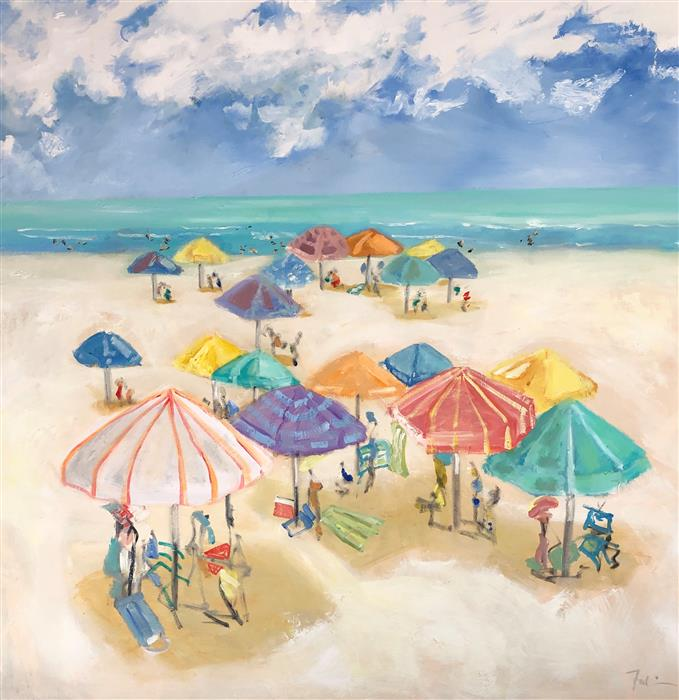 Original art for sale at UGallery.com | Hot Sand by Patricia Fabian | $4,500 | oil painting | 48' h x 48' w | ..\art\oil-painting-Hot-Sand