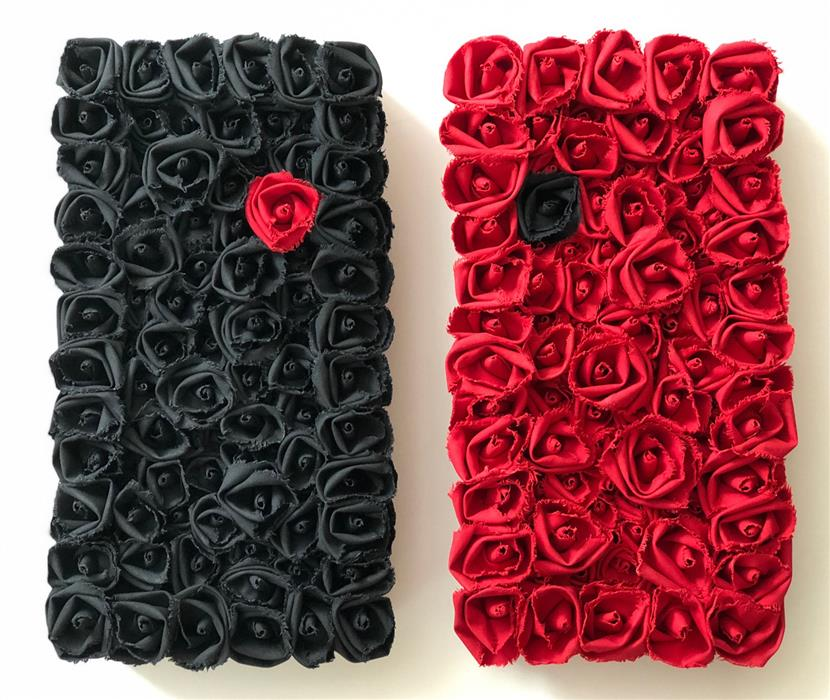 Original art for sale at UGallery.com | Painting the Roses Black by Andrea Cook | $1,150 | fiber artwork | 20' h x 20' w | ..\art\fiber-artwork-Painting-the-Roses-Black