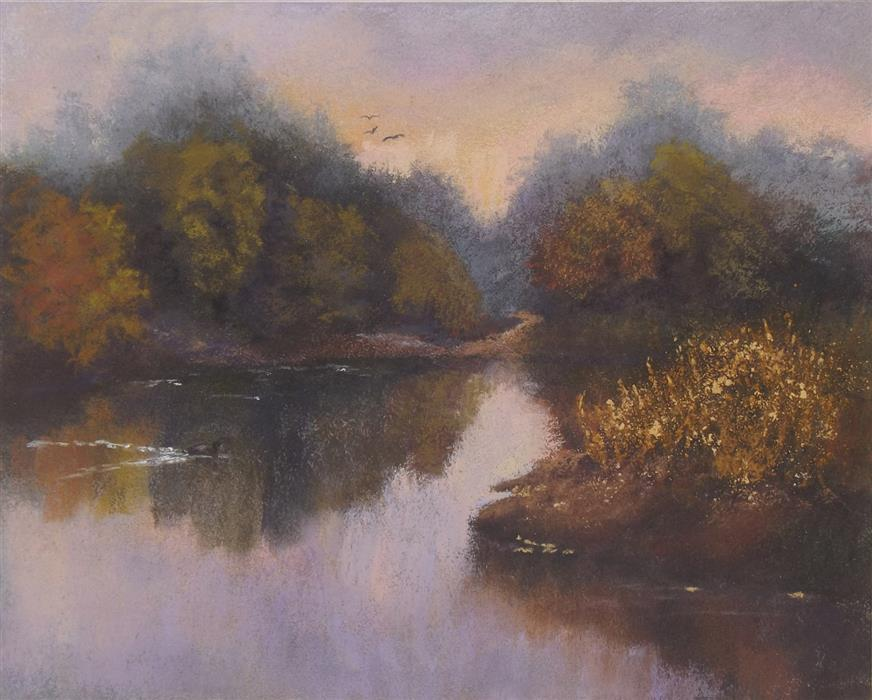 Original art for sale at UGallery.com | View down the River by Patricia Prendergast | $275 | pastel artwork | 8' h x 10' w | ..\art\pastel-artwork-View-down-the-River