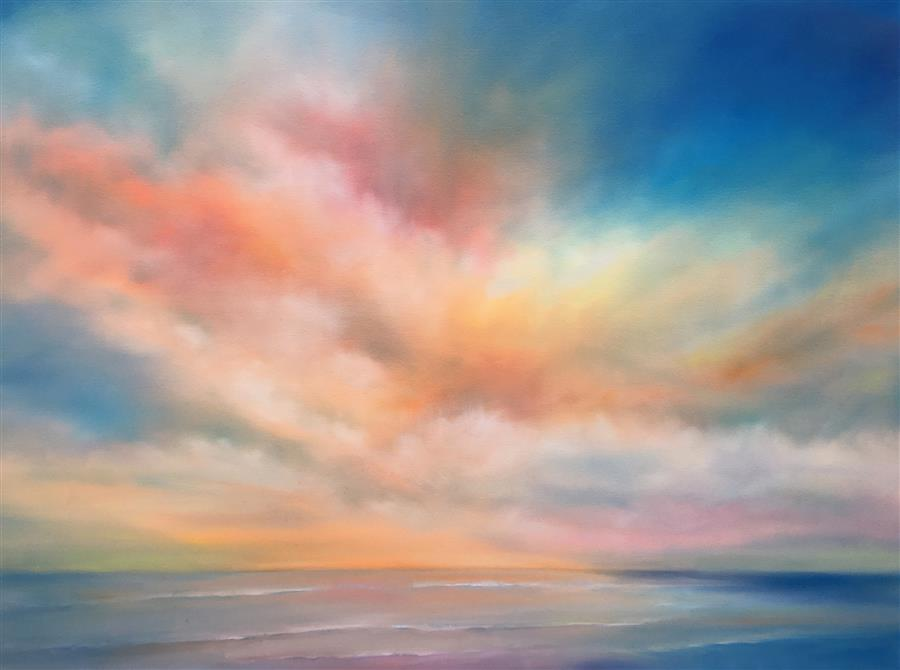 Original art for sale at UGallery.com | Shoreline Sky by NANCY HUGHES MILLER | $2,100 |  | 30' h x 40' w | ..\art\oil-painting-Shoreline-Sky