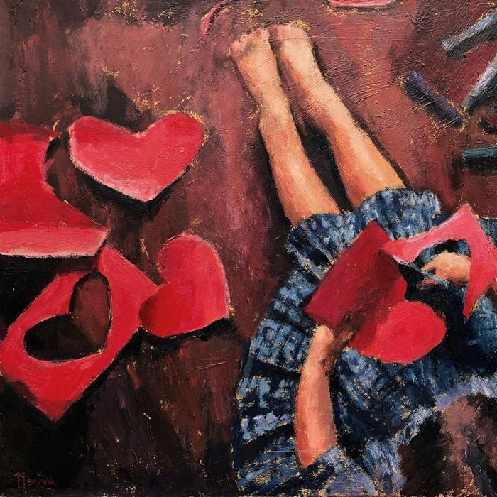 Original art for sale at UGallery.com | Paper Hearts by NAVA LUNDY | $900 |  | 20' h x 20' w | ..\art\acrylic-painting-Paper-Hearts