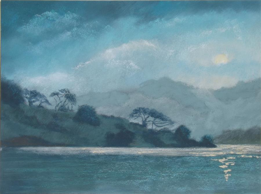 Original art for sale at UGallery.com | Moon over Stafford Lake by Patricia Prendergast | $375 | pastel artwork | 9' h x 12' w | ..\art\pastel-artwork-Moon-over-Stafford-Lake