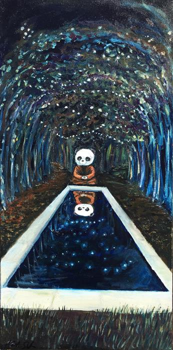 Original art for sale at UGallery.com | Pondering Panda by Kat Silver | $775 | oil painting | 20' h x 10' w | ..\art\oil-painting-Pondering-Panda