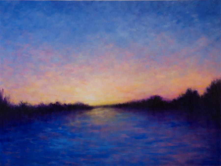 Original art for sale at UGallery.com | Weekend Sunset Reflections by VICTORIA VEEDELL | $3,700 |  | 36' h x 48' w | ..\art\oil-painting-Weekend-Sunset-Reflections