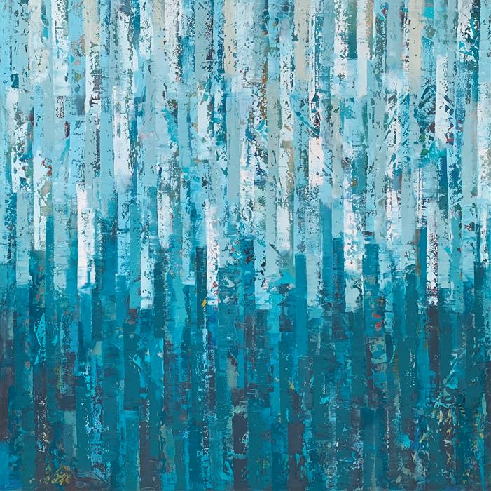 Original art for sale at UGallery.com | Beyond the Sea by Janet Hamilton | $5,200 | mixed media artwork | 48' h x 48' w | ..\art\mixed-media-artwork-Beyond-the-Sea