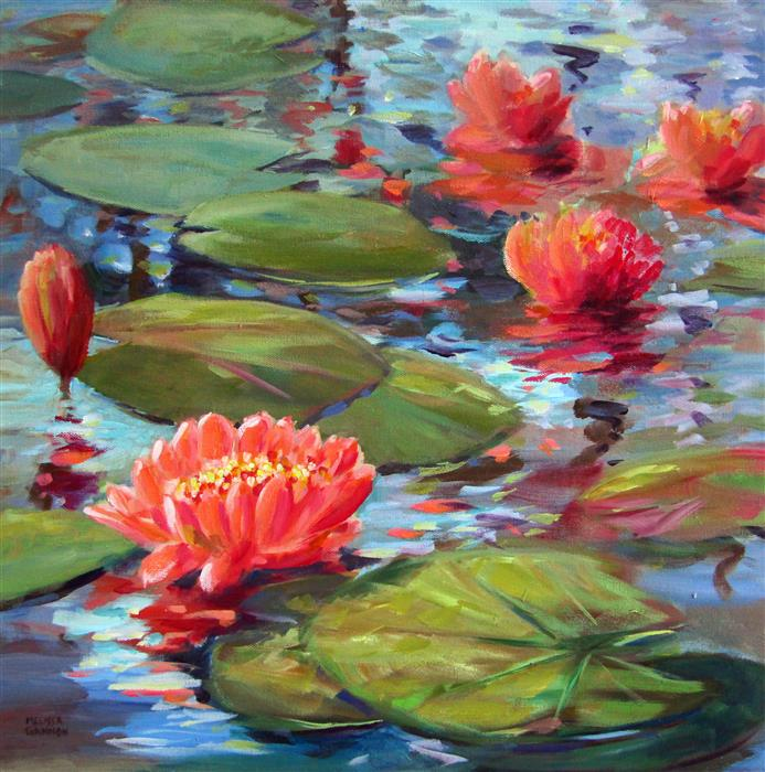 Original art for sale at UGallery.com | Waterlily Magic by Melissa Gannon | $800 | acrylic painting | 20' h x 20' w | ..\art\acrylic-painting-Waterlily-Magic