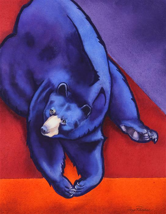 Original art for sale at UGallery.com | Zen Bear by Amy Rattner | $700 | watercolor painting | 18' h x 14' w | ..\art\watercolor-painting-Zen-Bear