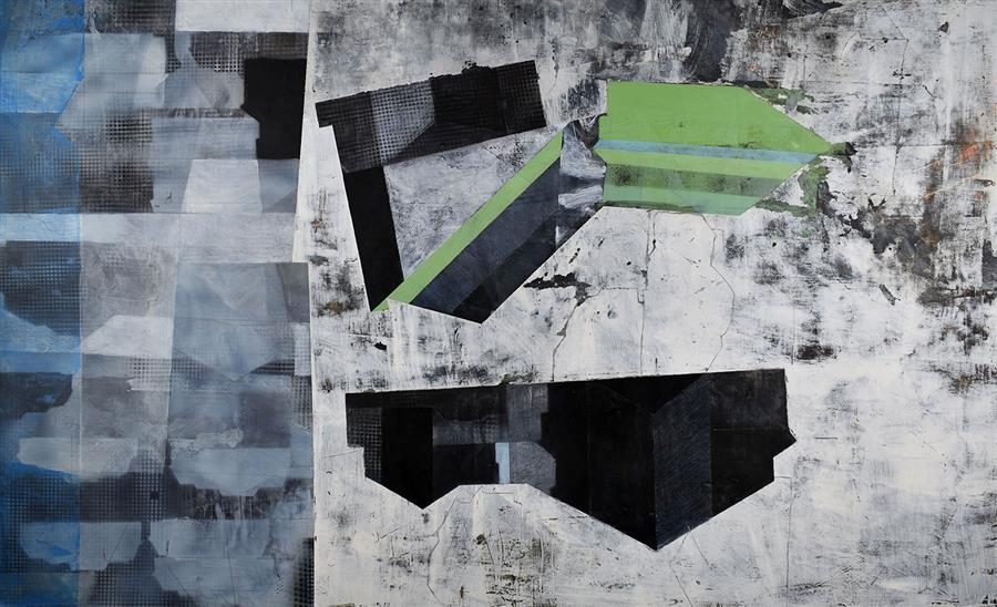 Original art for sale at UGallery.com | An Area Lying Beyond the Strict Limits of a Thing by Linnie Brown | $1,725 | mixed media artwork | 24' h x 39' w | ..\art\mixed-media-artwork-An-Area-Lying-Beyond-the-Strict-Limits-of-a-Thing