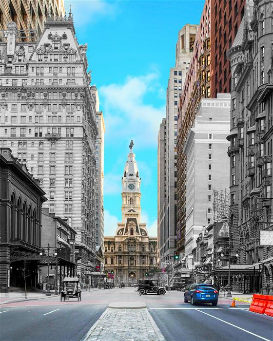 Original art for sale at UGallery.com | Broad Street and City Hall, Philadelphia by Mark Hersch | $25 | photography | 32' h x 40' w | ..\art\photography-Broad-Street-and-City-Hall-Philadelphia