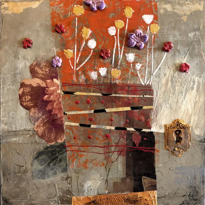 Original art for sale at UGallery.com | Fall Flowers by Darlene McElroy | $375 | mixed media artwork | 8' h x 8' w | ..\art\mixed-media-artwork-Fall-Flowers