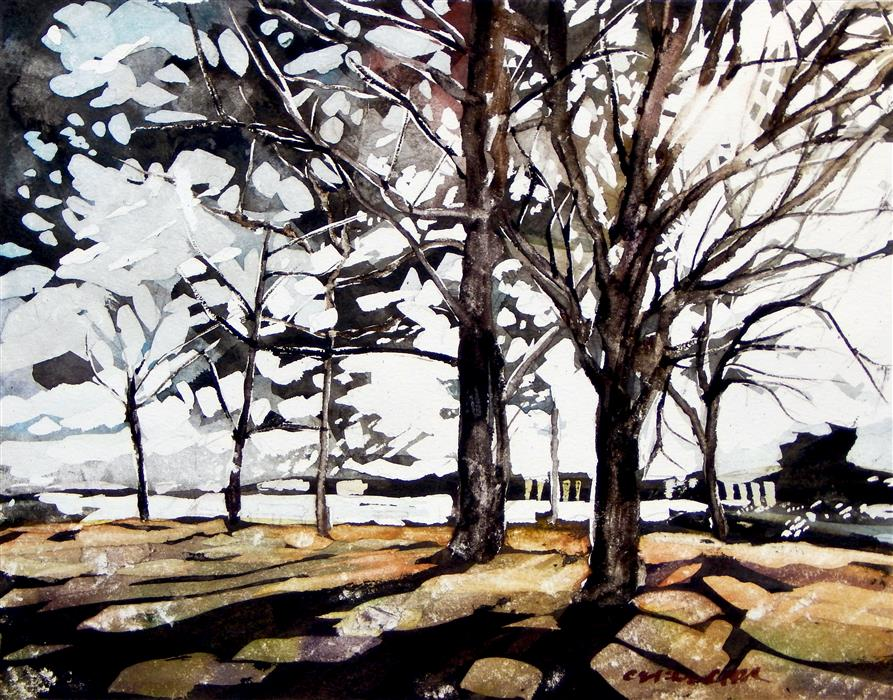 Original art for sale at UGallery.com | Jack's Island by CHRIS WAGNER | $400 |  | 11' h x 14' w | ..\art\watercolor-painting-Jack-s-Island