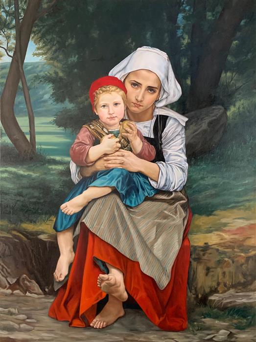Original art for sale at UGallery.com | Master Copy of William A. Bouguereau's Breton Brother and Sister by Debbie Daniels | $20,600 | oil painting | 48' h x 36' w | ..\art\oil-painting-Master-Copy-of-William-A-Bouguereau-s-Breton-Brother-and-Sister