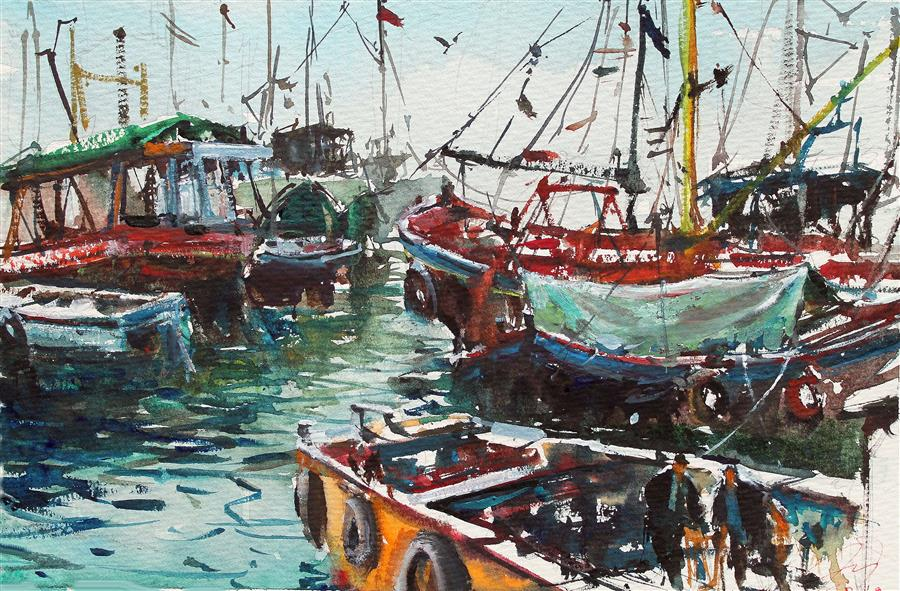 Original art for sale at UGallery.com | Aberdeen Harbour by Maximilian Damico | $550 | watercolor painting | 7' h x 11' w | ..\art\watercolor-painting-Aberdeen-Harbour