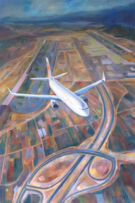 Original art for sale at UGallery.com | Plane and Land by DINA VOLKOVA | $1,700 |  | 36' h x 24' w | ..\art\oil-painting-Plane-and-Land