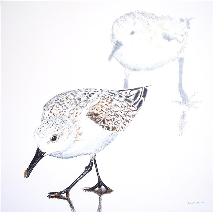 Original art for sale at UGallery.com | Sanderling Duo by EMIL MORHARDT | $1,100 |  | 24' h x 24' w | ..\art\acrylic-painting-Sanderling-Duo