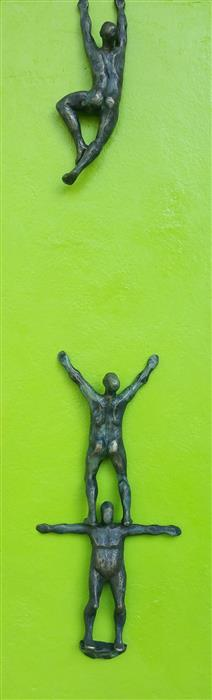 Original art for sale at UGallery.com | Climber on Green Hope A. by Yelitza Diaz | $925 | sculpture | 30' h x 9' w | ..\art\sculpture-Climber-on-Green-Hope-A
