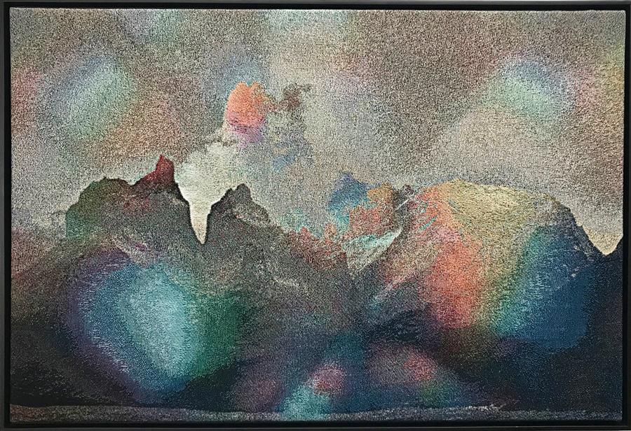 Original art for sale at UGallery.com | Brazilian Mountains (Soft Synesthesia) by Jack R. Mesa | $5,475 | fiber artwork | 37' h x 54' w | ..\art\fiber-artwork-Brazilian-Mountains-Soft-Synesthesia
