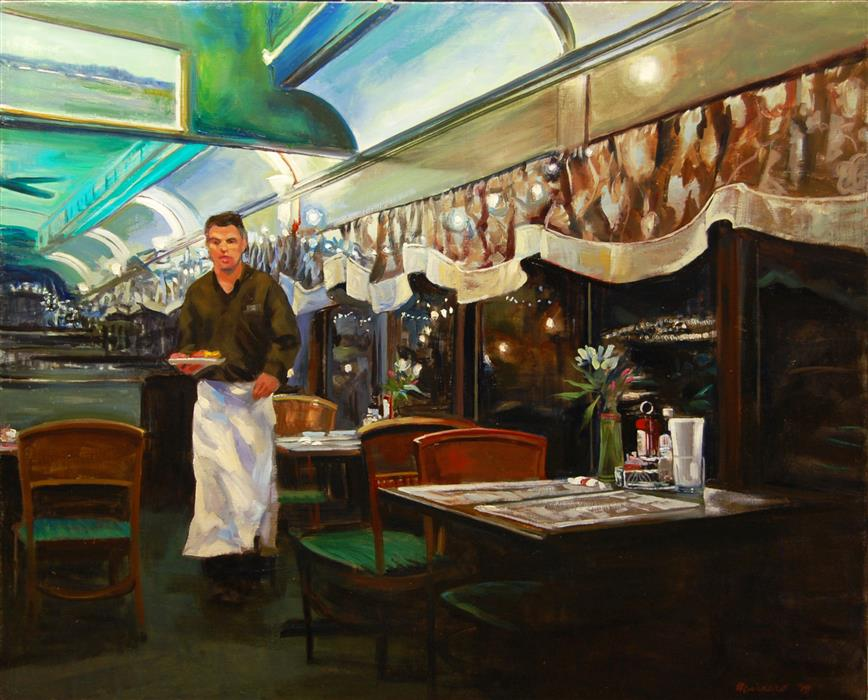Original art for sale at UGallery.com | At the Clinton Station Diner by Onelio Marrero | $1,800 | oil painting | 26' h x 32' w | ..\art\oil-painting-At-the-Clinton-Station-Diner