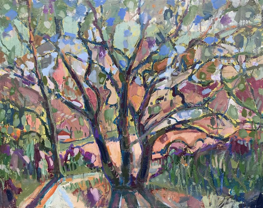 Original art for sale at UGallery.com | Saratoga Live Oaks by James Hartman | $6,125 | oil painting | 48' h x 55' w | ..\art\oil-painting-Saratoga-Live-Oaks