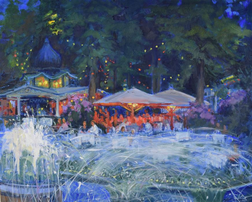 Original art for sale at UGallery.com | Evening at Tivoli by Mickey Cunningham | $1,125 | oil painting | 24' h x 30' w | ..\art\oil-painting-Evening-at-Tivoli