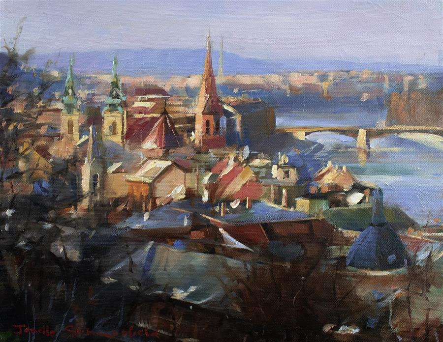 Original art for sale at UGallery.com | View of Budapest by JONELLE SUMMERFIELD | $525 |  | 11' h x 14' w | ..\art\oil-painting-View-of-Budapest