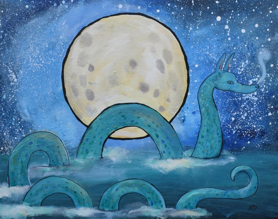 Original art for sale at UGallery.com | The Sea Serpent by ANDREA DOSS | $525 |  | 16' h x 20' w | ..\art\acrylic-painting-The-Sea-Serpent