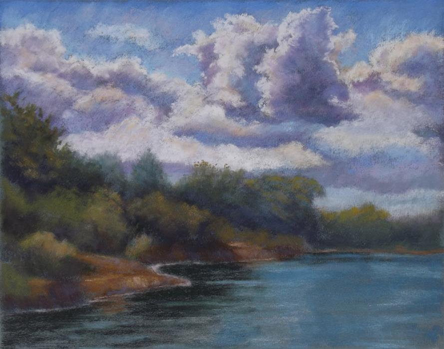 Original art for sale at UGallery.com | Cloudy Day at the Point by PATRICIA PRENDERGAST | $475 |  | 11' h x 14' w | ..\art\pastel-artwork-Cloudy-Day-at-the-Point