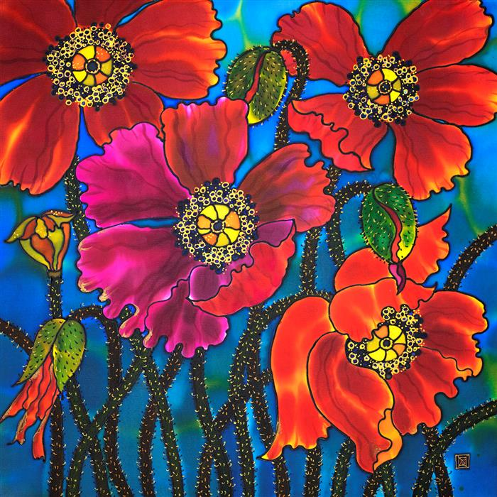 Original art for sale at UGallery.com | Amazing Poppies by Yelena Sidorova | $1,100 | mixed media artwork | 24' h x 24' w | ..\art\mixed-media-artwork-Amazing-Poppies