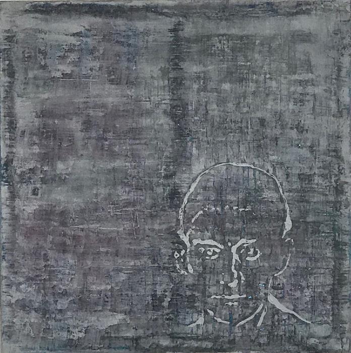 Original art for sale at UGallery.com | Kafka Encoda by Quin de la Mer | $700 | mixed media artwork | 16' h x 16' w | ..\art\mixed-media-artwork-Kafka-Encoda