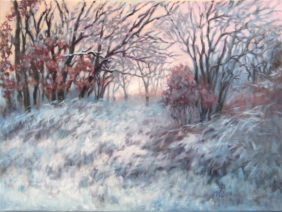 Original art for sale at UGallery.com | First Light in the Wolf Moon by SUZANNE MASSION | $575 |  | 18' h x 24' w | ..\art\oil-painting-First-Light-in-the-Wolf-Moon