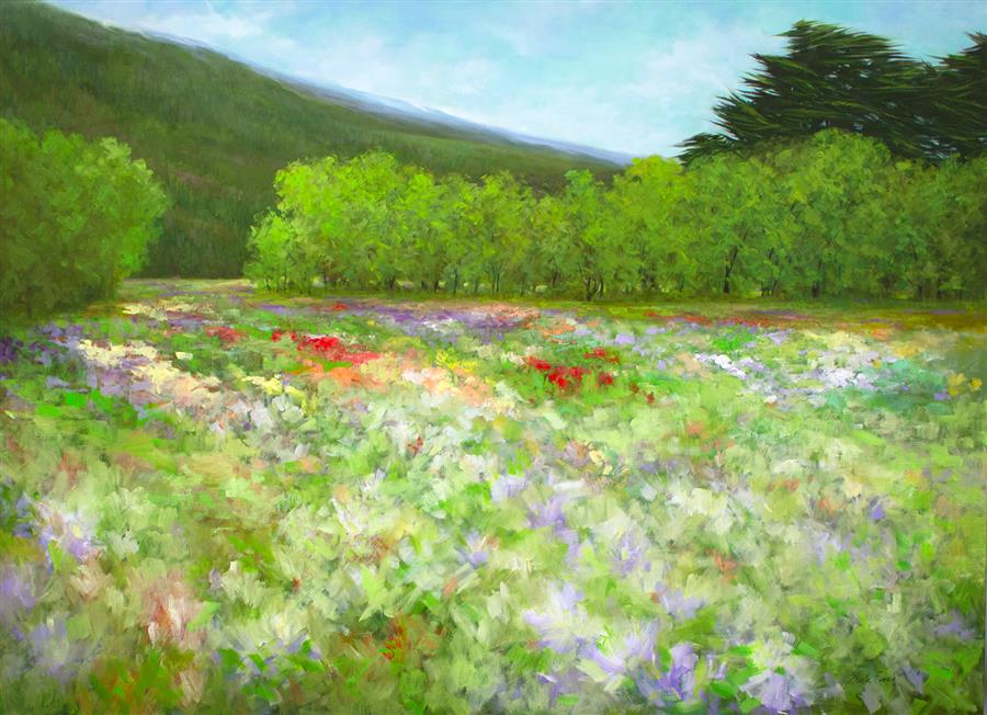 Original art for sale at UGallery.com | The Flowers of Half Moon Bay - Looking South by Sheila Finch | $6,000 | oil painting | 42' h x 58' w | ..\art\oil-painting-The-Flowers-of-Half-Moon-Bay-Looking-South