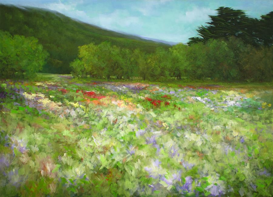 Original art for sale at UGallery.com | The Flowers of Half Moon Bay - Looking South by SHEILA FINCH | $10,250 |  | 42' h x 58' w | ..\art\oil-painting-The-Flowers-of-Half-Moon-Bay-Looking-South
