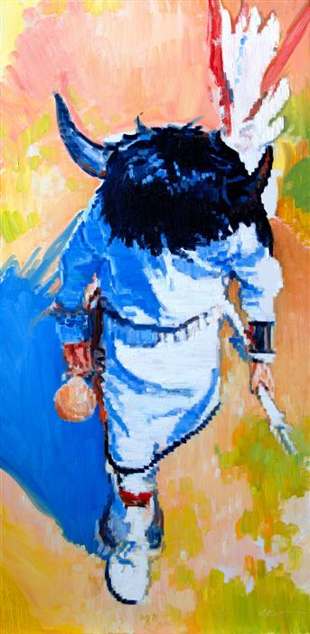 Original art for sale at UGallery.com | Dancer in Pecos by Warren Keating | $4,300 | oil painting | 48' h x 24' w | ..\art\oil-painting-Dancer-in-Pecos