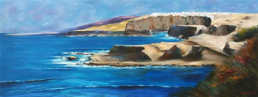 Original art for sale at UGallery.com   Santorini by Sokratis Evgenidis   $1,700   oil painting   19' h x 51' w   ..\art\oil-painting-Santorini-63589