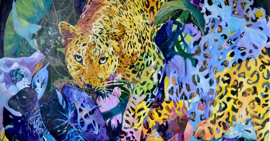 Original art for sale at UGallery.com | On the Wild Side 1 by Julia Hacker | $4,250 | acrylic painting | 32' h x 60' w | ..\art\acrylic-painting-On-the-Wild-Side-1